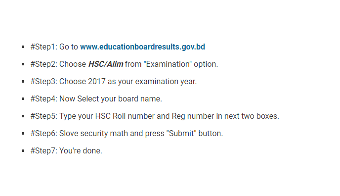 HSC Result Check System